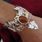 Amber Ivy Leaves Bracelet Cuff