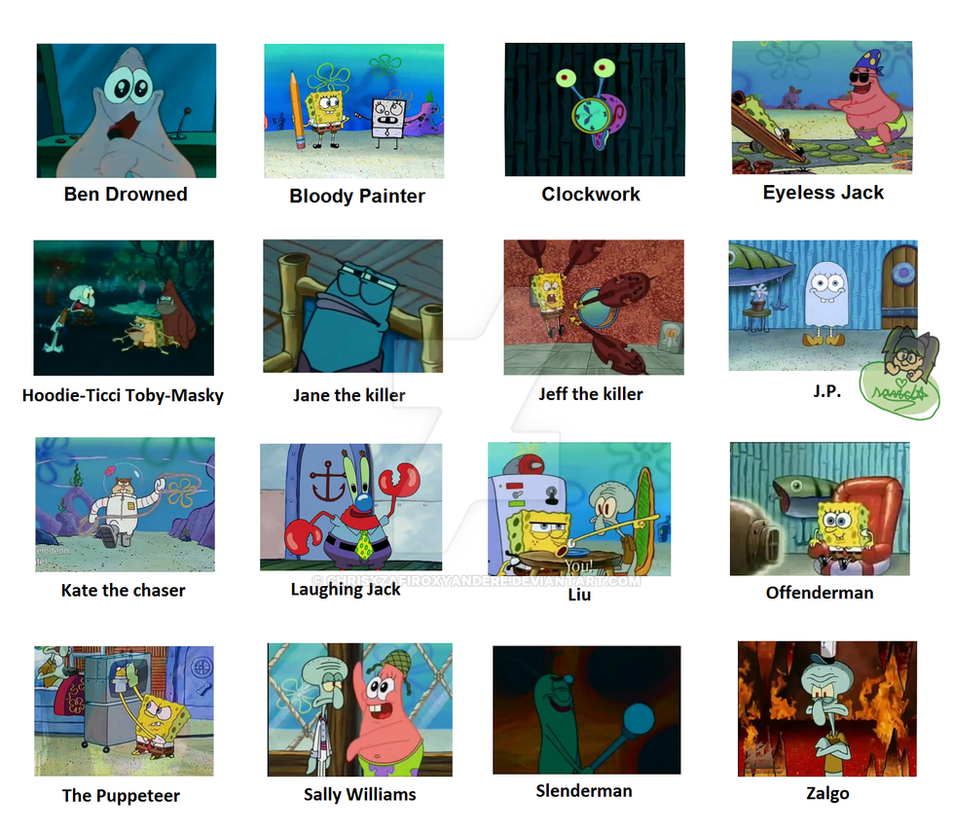 Creepypastas portrayed in spongebob meme by chrisxzafiroxyandere