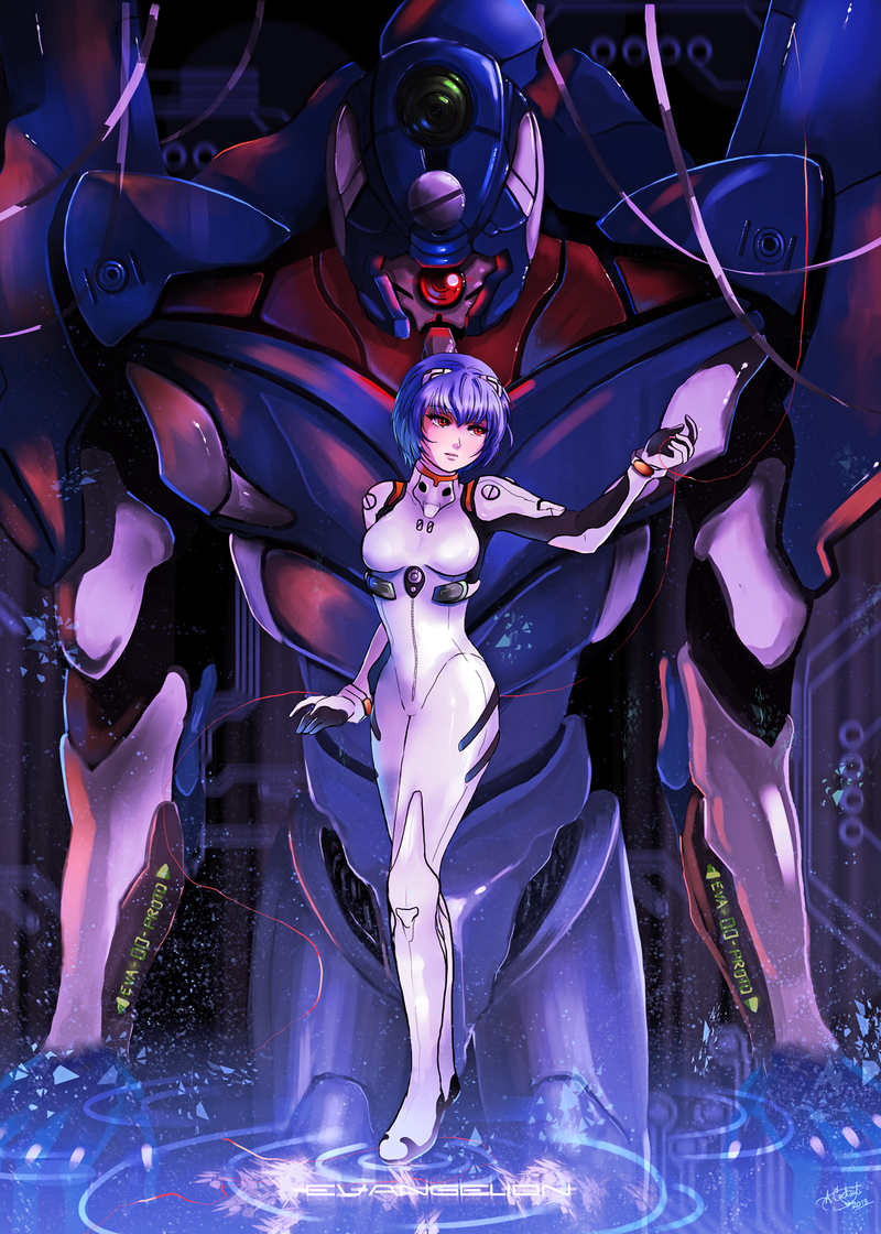 Evangelion - Rei and Unit 00 by Silvercresent11
