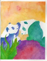 Panda Bears Watercolor Card