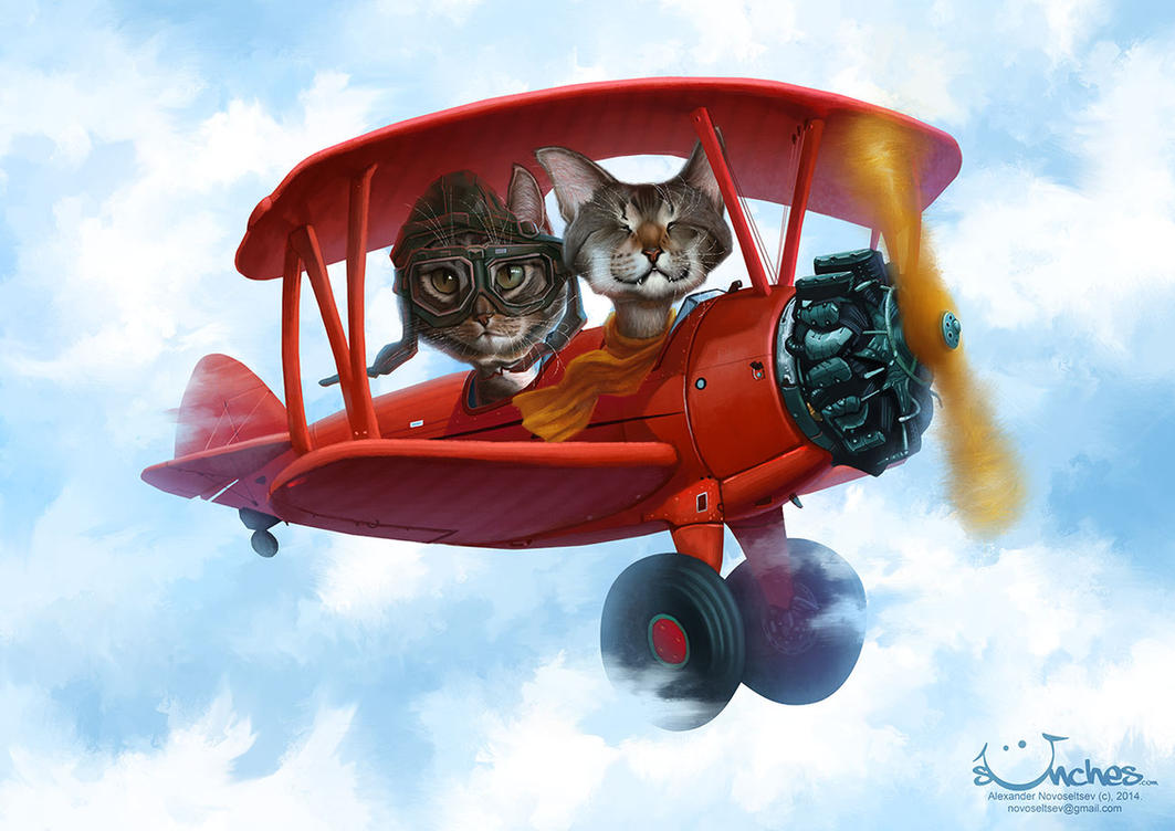 Oskar and Klaus in a PT17 Stearman by creaturedesign