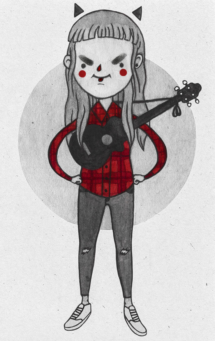 Selfportrait with black ukulele by damage-me