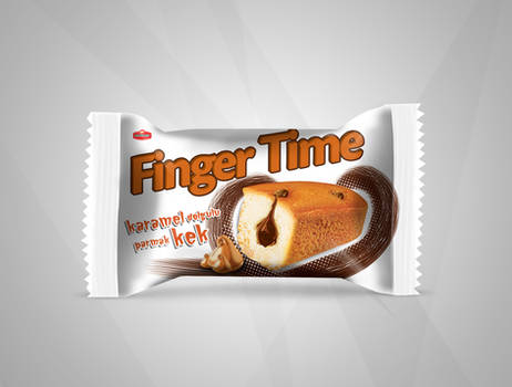 Finger Time Cake with Caramel Package Design