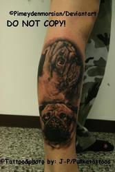 My pug tattoo by pimeydenmorsian