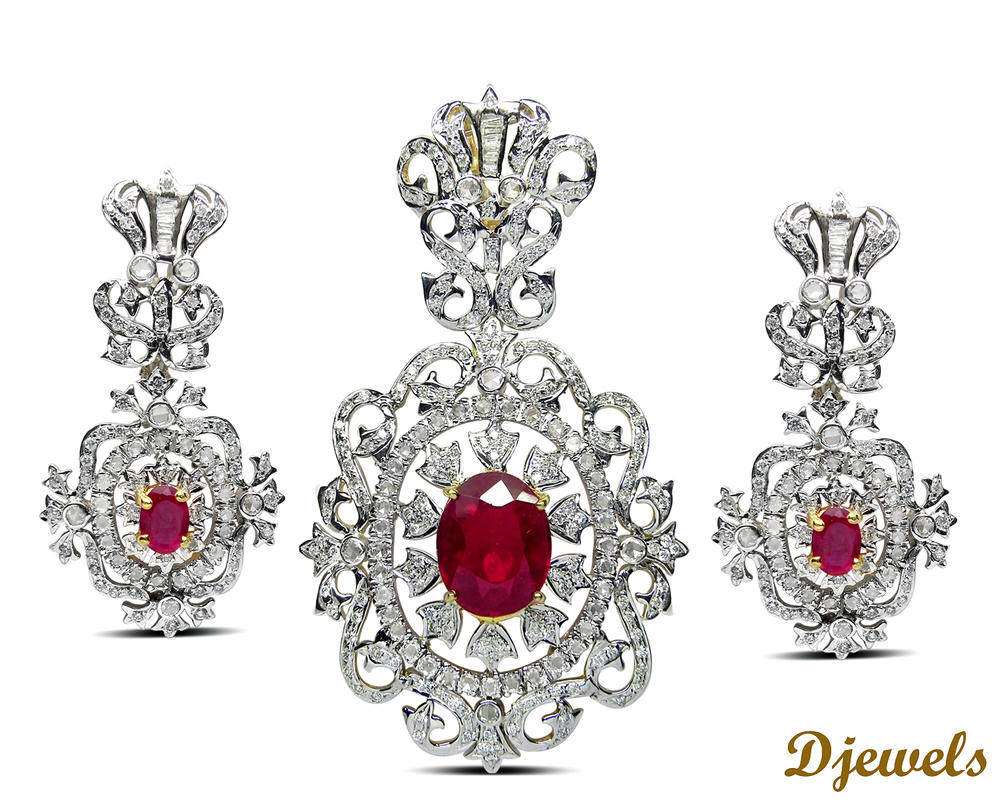 buy leaf earring design pendant designer in diamond online set