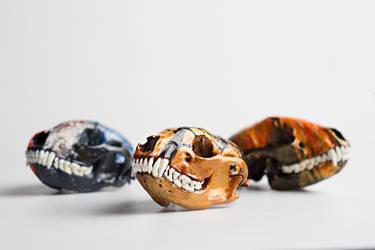 Painted Skulls Trio by Keberyna