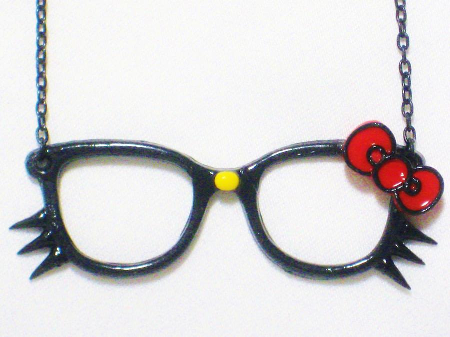 Hello Kitty Inspired Nerdy Necklace by SaphirazlilJewels