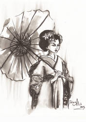Inktober day 29 - Apprentice Geisha: Maiko by Kaizoku-hime