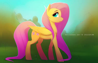 Fluttershy and forest. by antiander-art