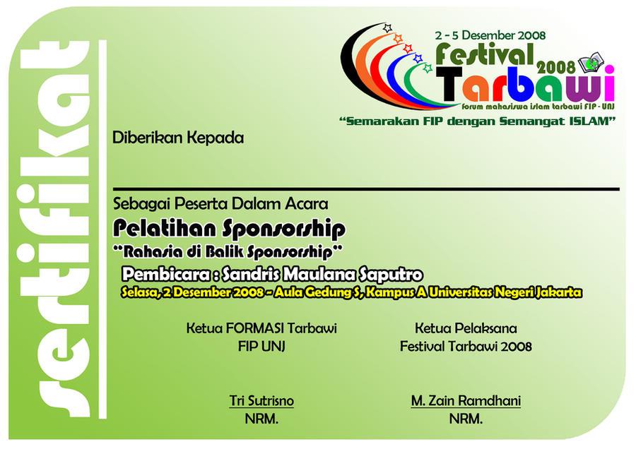 sertifikat pelatihan sponsorship