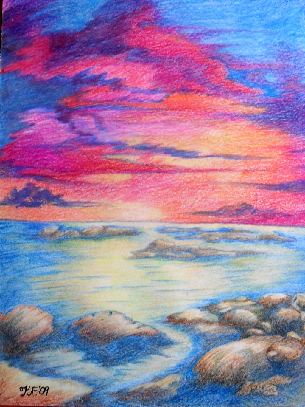Sunset Colour Drawing By Kate Colourtheory On Deviantart Colour Drawing
