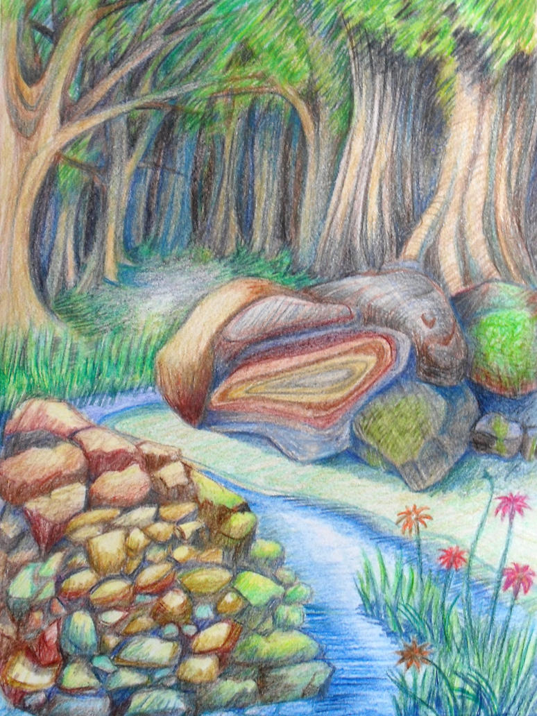 Forest colour drawing by Kate ColourTheory on DeviantArt