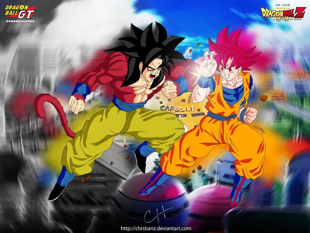 Goku SSJ4 v/s Goku SSJ Dios by ChrstianZ