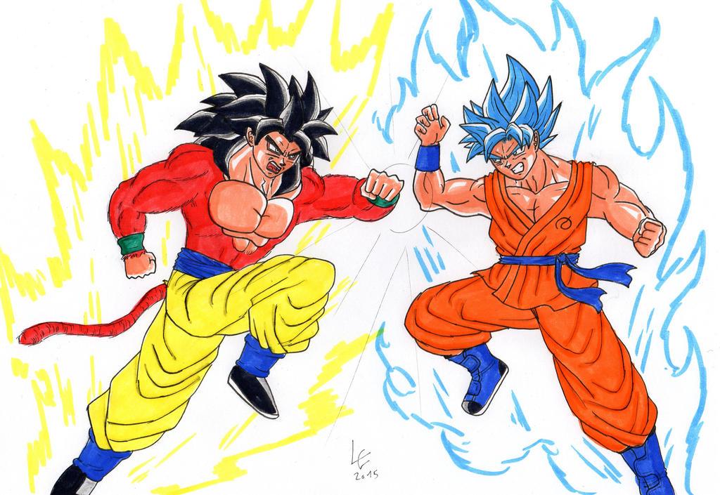 Goku Ssj4 Vs Goku Ssj3: Goku SSGSS Vs SSJ 4 By Clemi1806 On DeviantArt