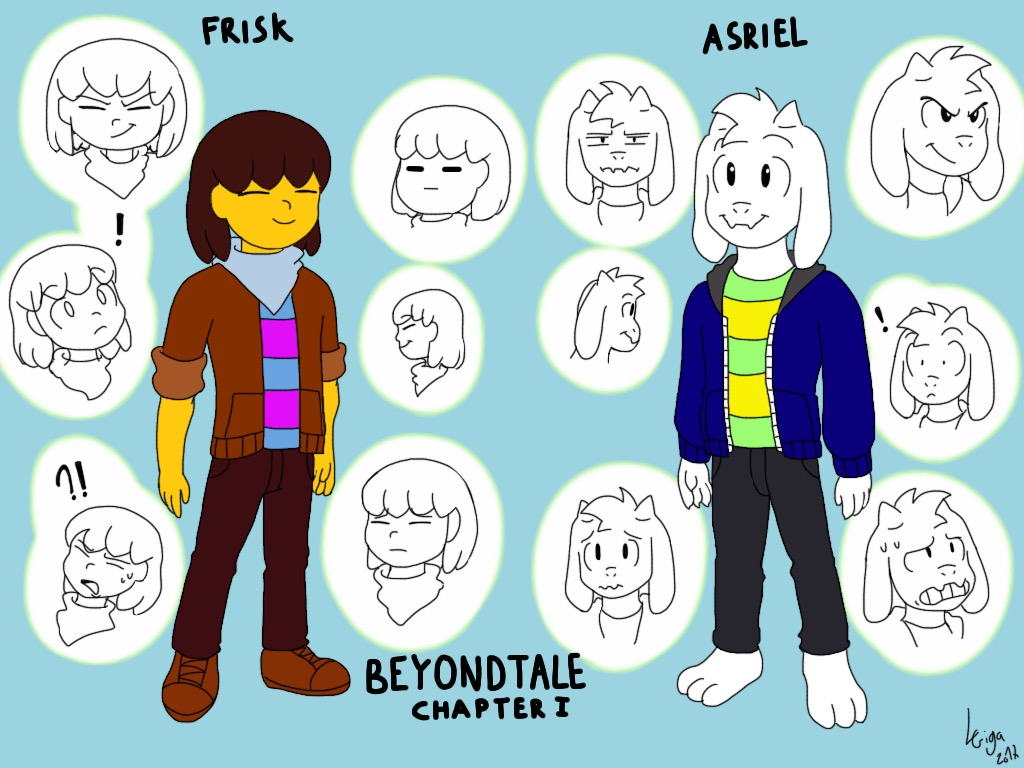 Beyondtale Frisk and Asriel doodles by Clemi1806