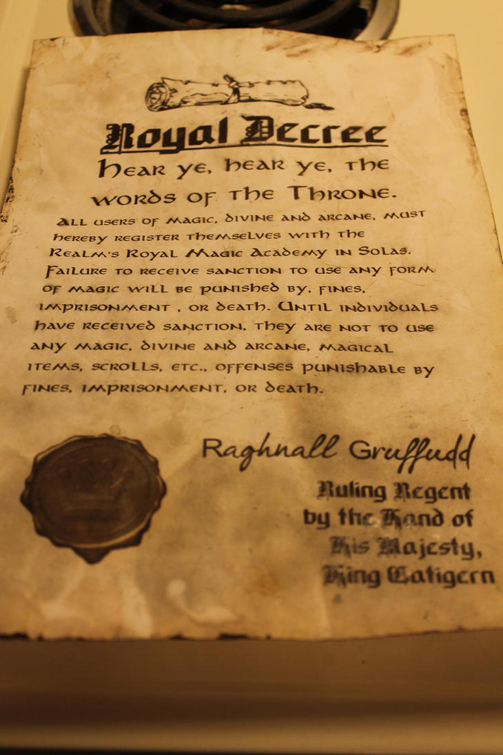 Royal Decree for A Dungeons and Dragons Adventure by IsiloAranel on ...