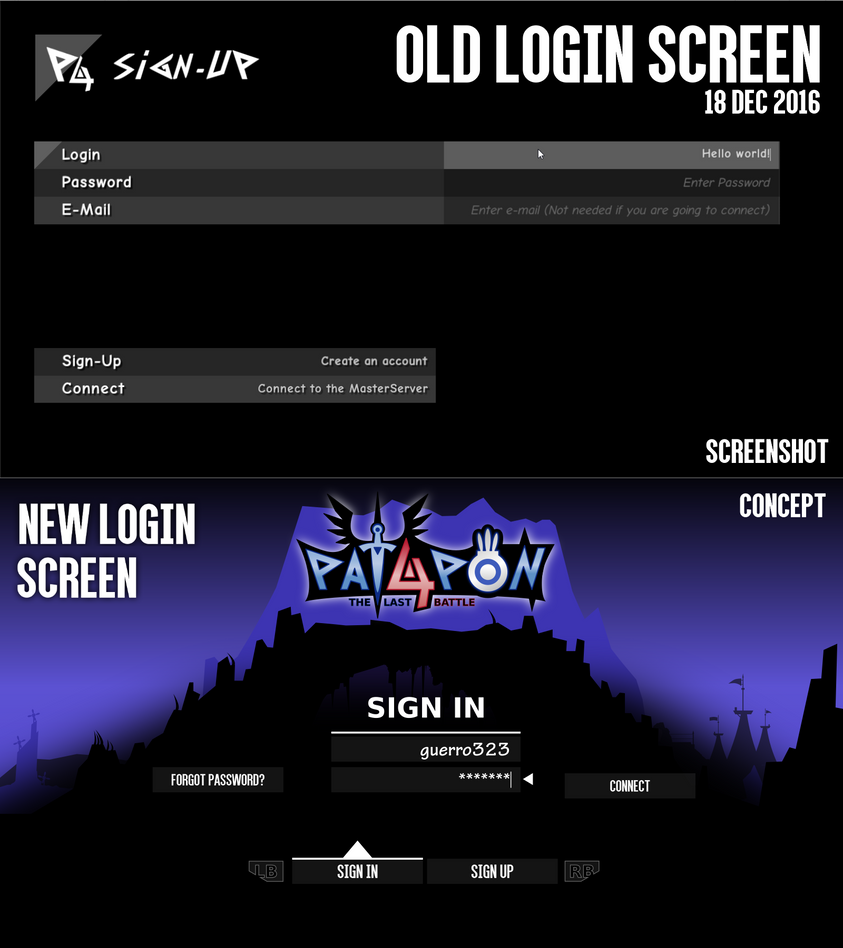 Patapon 4 tlb old vs new login screen by guerro323 on for Deviantart login