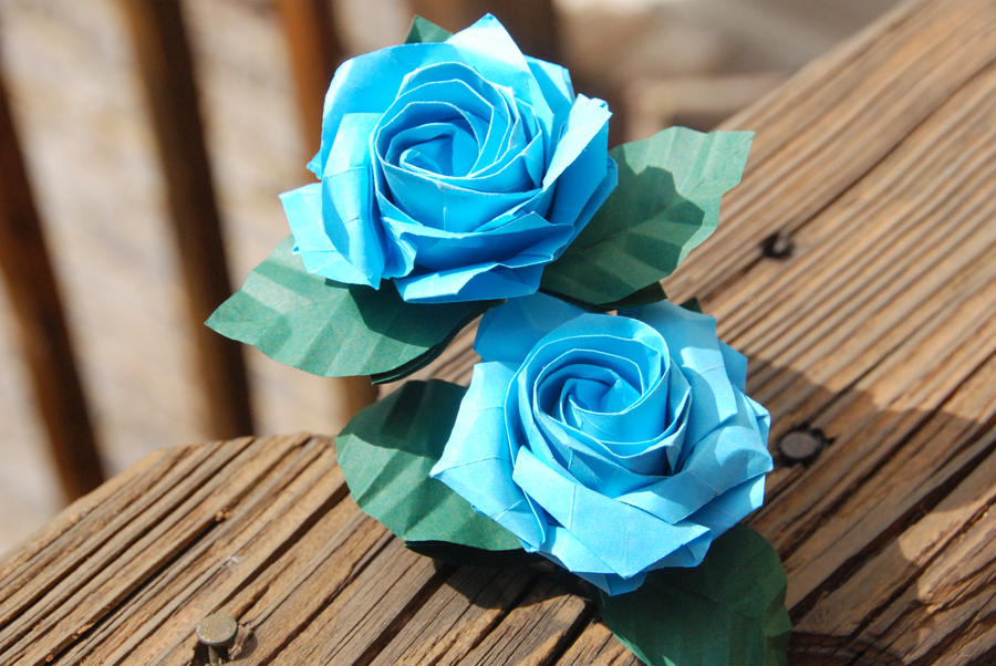 Origami Sato Blue Rose with stem and leaves by lisadeng on ... - photo#16