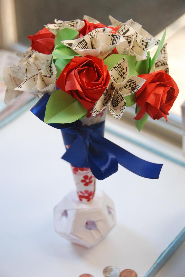 Vintage Sheet Music Origami Rose Bouquet By Lisadeng On Deviantart