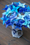 Origami Star Shades of Blue Flowers