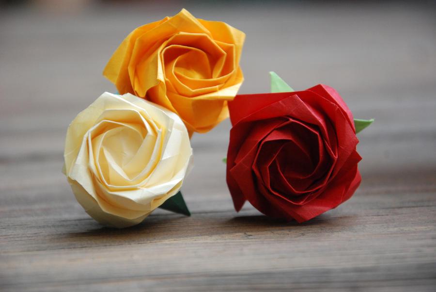 Origami Fall Roses by lisadeng