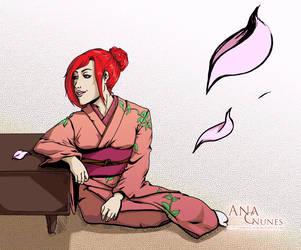 :Wolf and Dragon: Sakura Petals by DreamGazer-NightAnge
