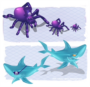 Purple shadow monster spider and sharky