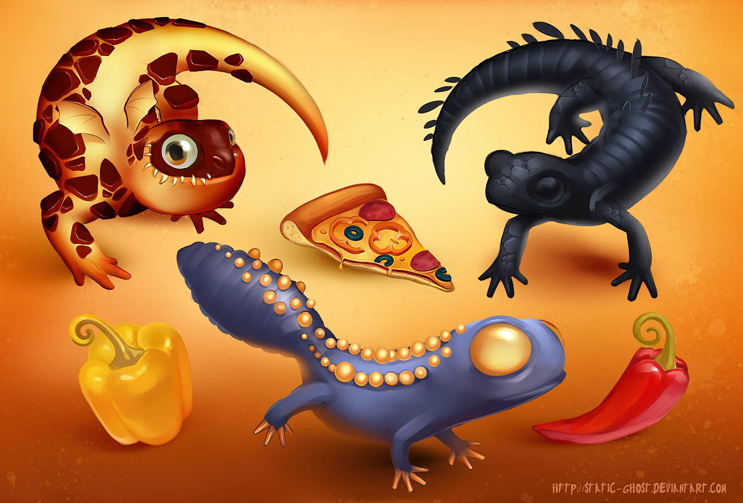 Pizza salamanders by Static-ghost