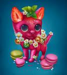 Strawberry macaron cat