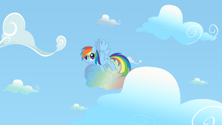 Rainbow Dash on the Cloud by NicolasDominique
