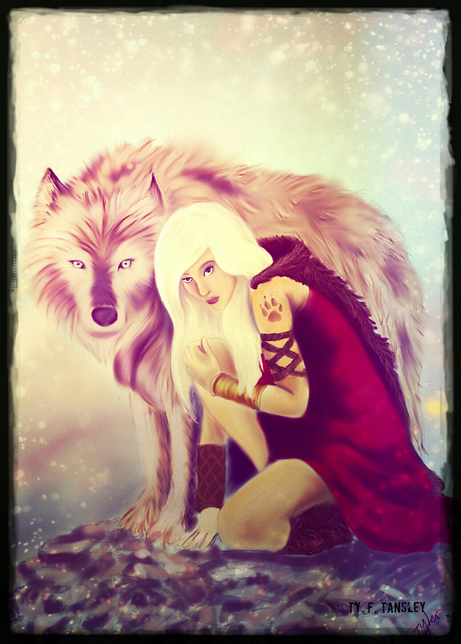 Girl with wolf revamped by ilovezombiesxxx