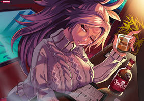 Having a drink with Baiken by SteveChopz