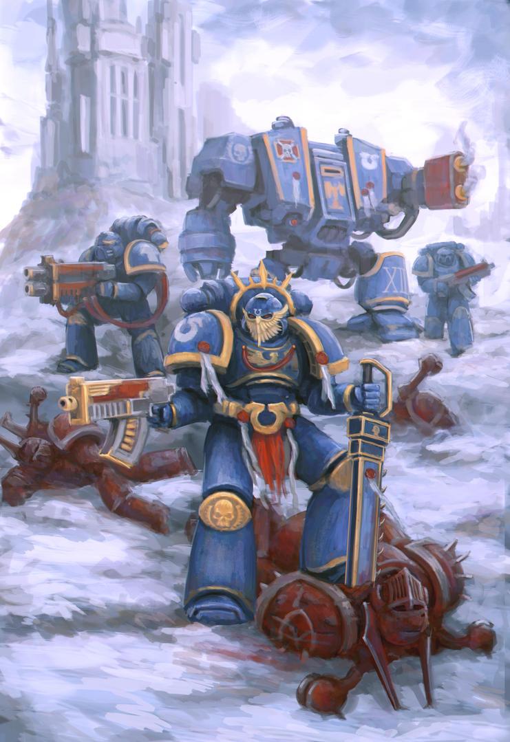 Warhammer 40 000 - Ultramarine squad by sid-vlad