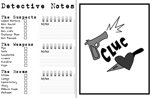 Clue Game Sheets Clue the musical - game sheets