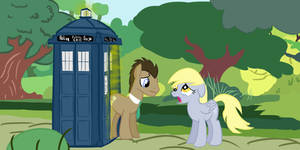 Dr. Whooves and Derpy bidding each other farewell