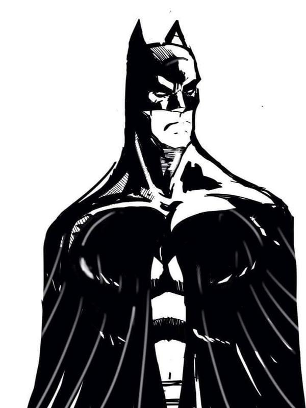 Grumpy Batman  by vagrantmidget
