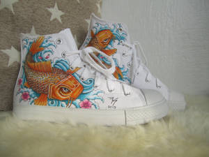 Hand Painted shoes - Koi