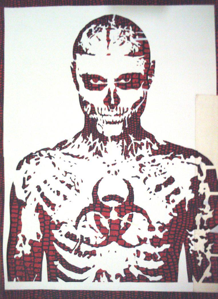 Zombie Face Stencil