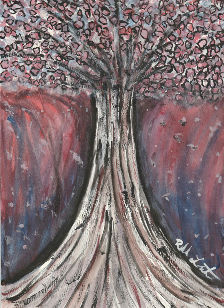 Water Colour Cherry Blossom Tree by Insidemymind18