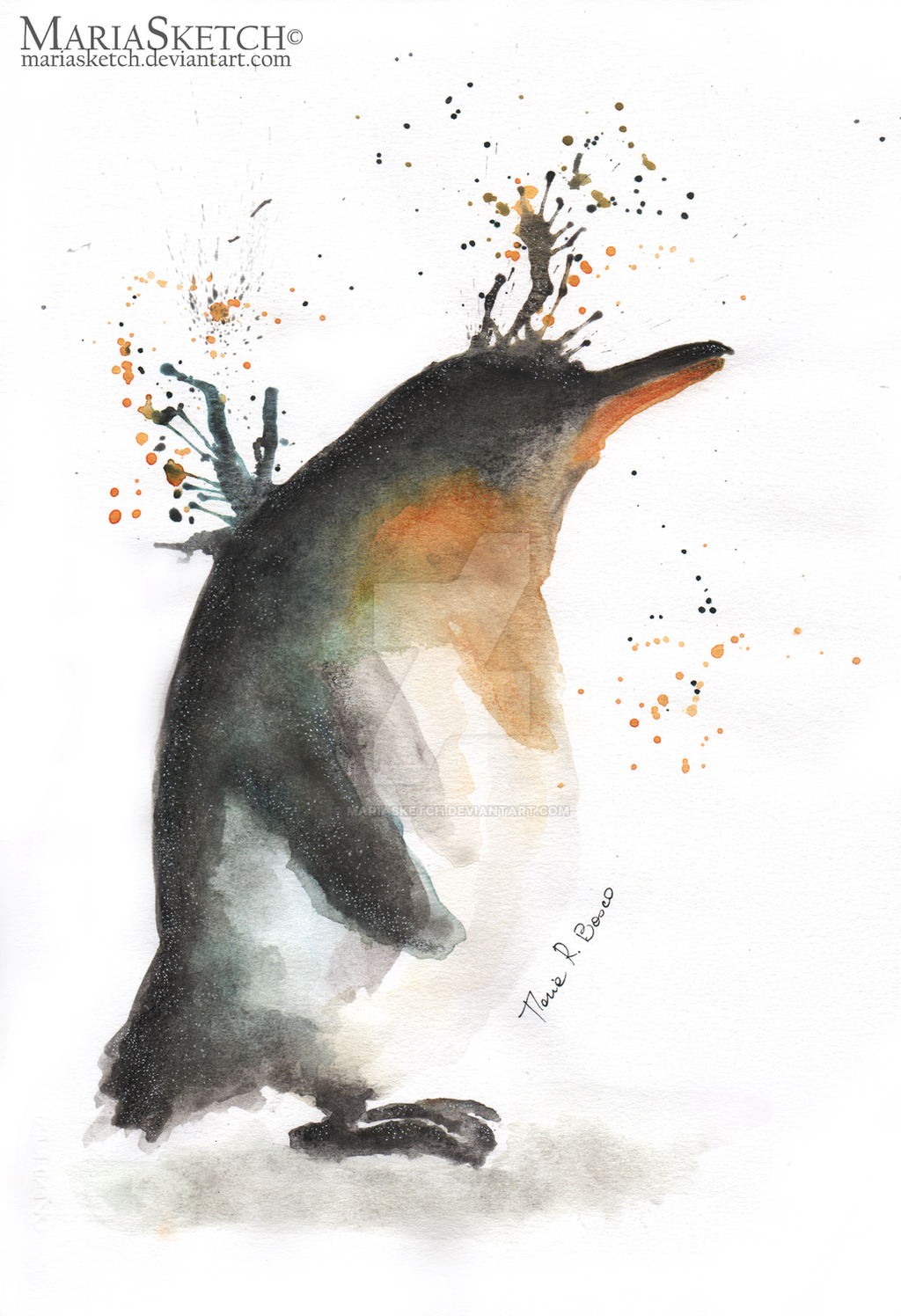 Penguin | Original Watercolor by MariaSketch