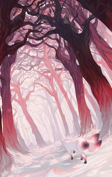 Pink Snowy Forest