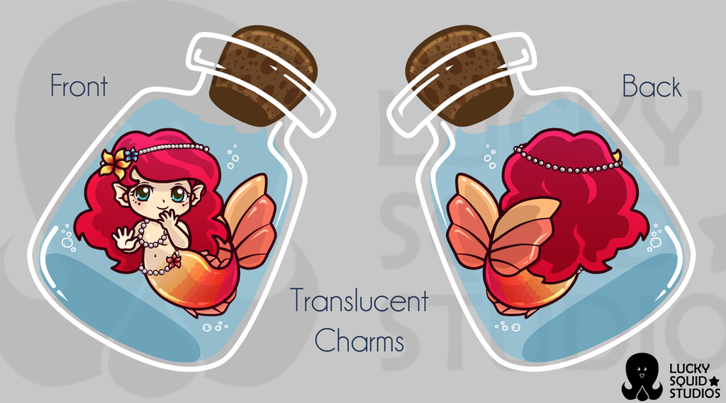 Little Bottle Mermaid_  Translucent Charm Design by pinkplaidrobot