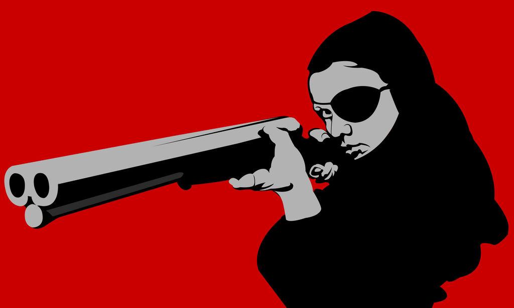 Thriller (They call her one eye) artwork gun