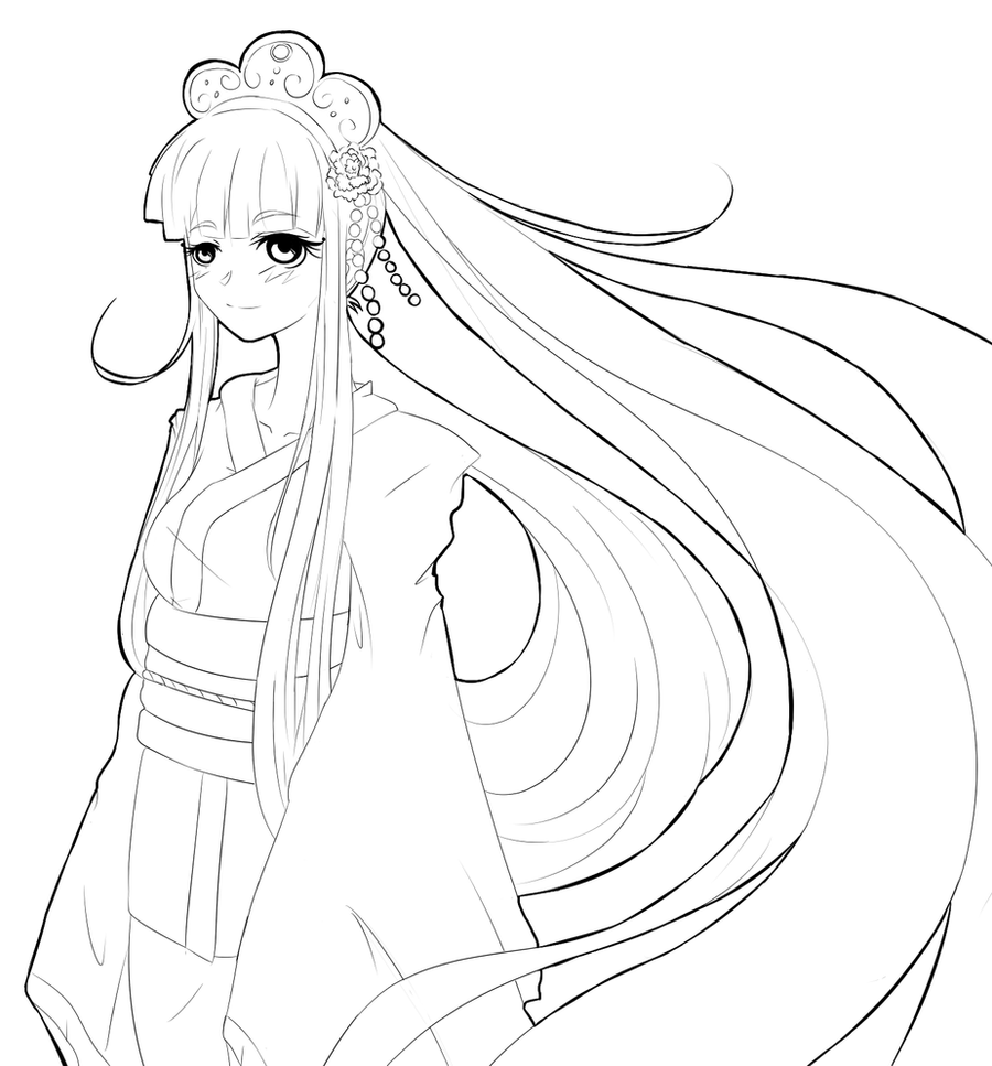 Kimono Manga Coloring Pages Coloring