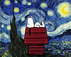 Snoopy under a starry night
