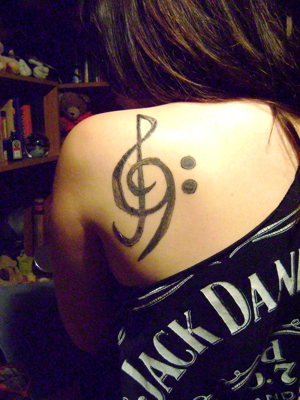 treble bass clef tattoo by worthgoingtohellfor on deviantart. Black Bedroom Furniture Sets. Home Design Ideas