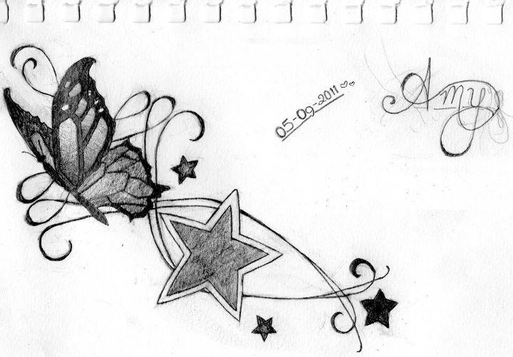 Butterflies And Stars Tattoo By Amyfail On Deviantart