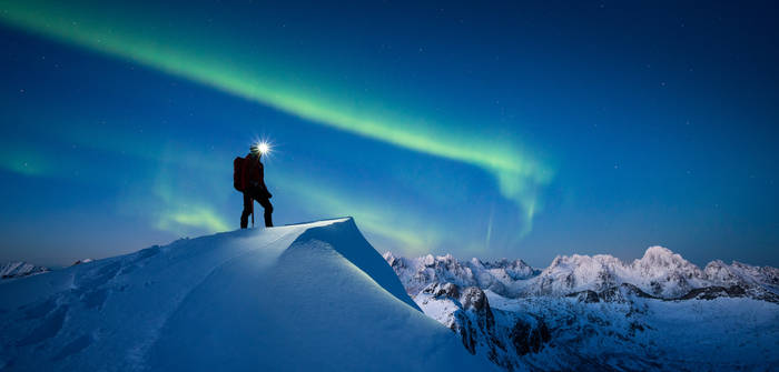 Hiking under the lights.