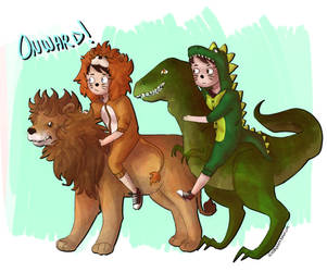 lions and dinosaurs by Tsirpx3