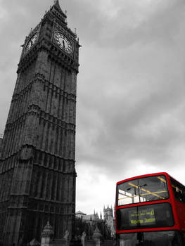 Big Ben and Double Decker Red Contrast